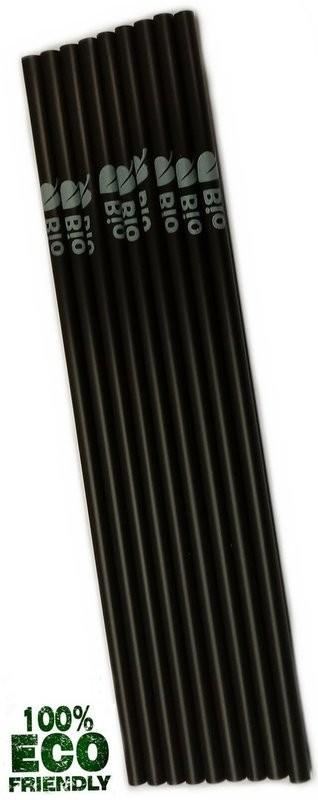 Trinkhalme BIO PLA schwarz mit Aufdruck