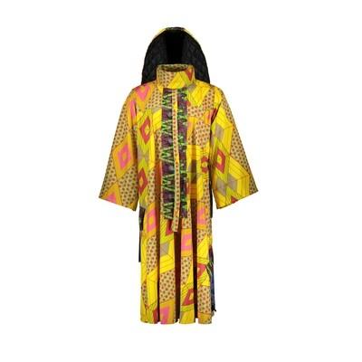 YELLOW PRINTED CAPE DRESS