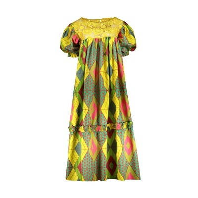 WEST/EAST YELLOW PRINT DRESS