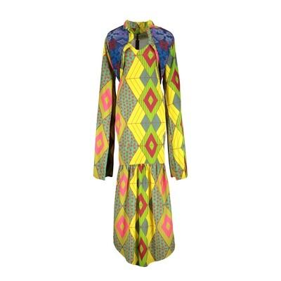 YELLOW PRINT DRESS