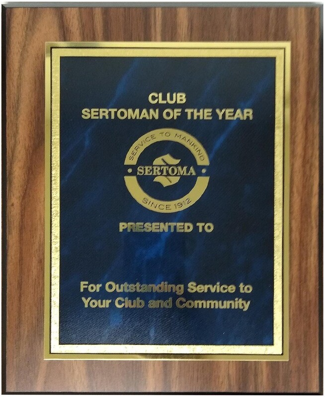 Club Sertoman of the Year Plaque