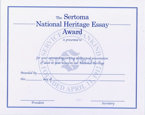 National Heritage Essay Certificate