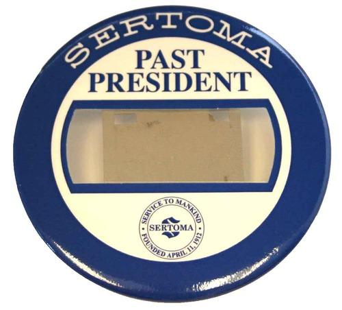 Past President Badge - Blue/White - Bull Dog Clip