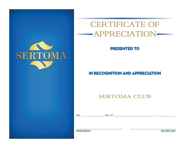 Certificate of Appreciation w/Pres&Sec Signature