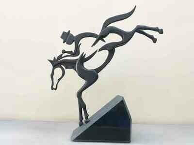 Scultura: Cavallo Cowboy Stilizzato