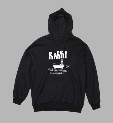 Rabbit in bath hoodie black