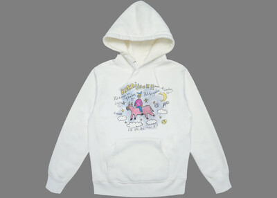 Flying cow hoodie white
