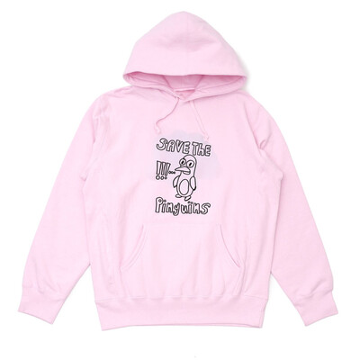 Save the pinguins hoodie pink