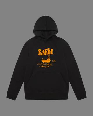 Rabbit in bath hoodie black and orange