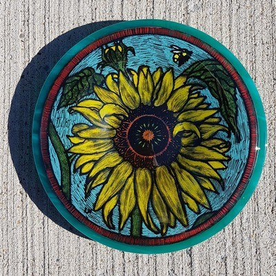 Sunflower Plate on Turquoise