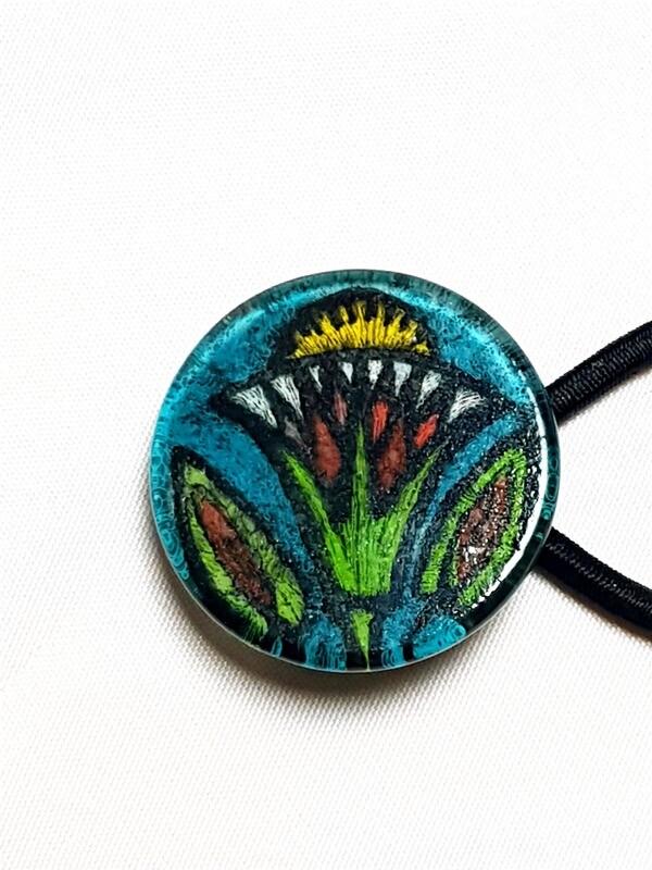 Rockin' Diva Ponytail Holder, Craftsman Flower on Teal