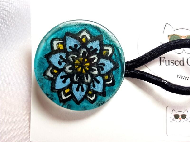 Rockin'Diva Ponytail Holder, Mandalla Flower on Teal