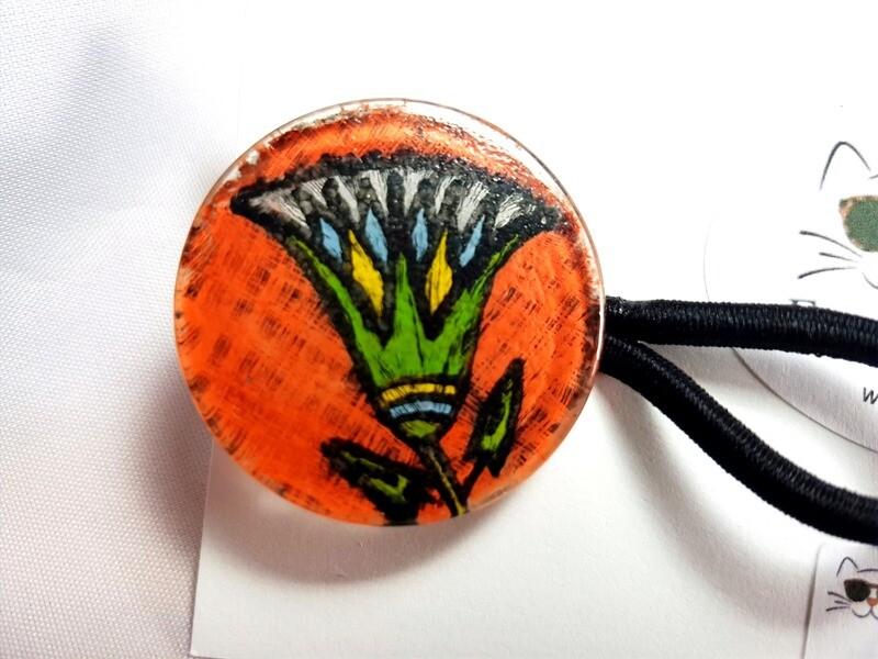 Rockin'Diva Ponytail Holder, Craftsman Flower on Orange