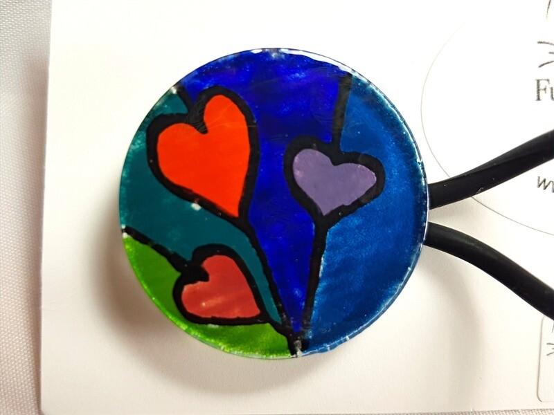 Rockin'Diva Ponytail Holder, 3 Hearts Multi Colour