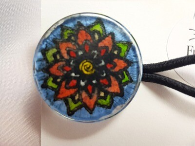 Rockin'Diva Ponytail Holder, Mandalla Flower Orange on Blue
