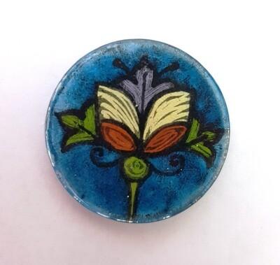 Rockin'Diva Ponytail Holder, Art Nouveau on Blue