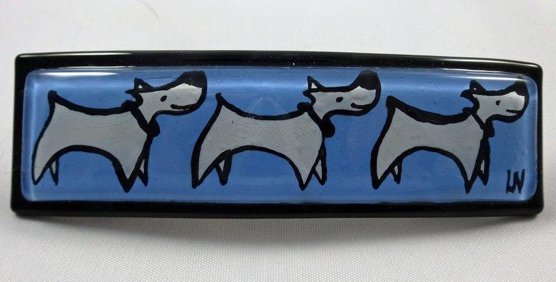 3 White Dogs on Light Blue Barrette
