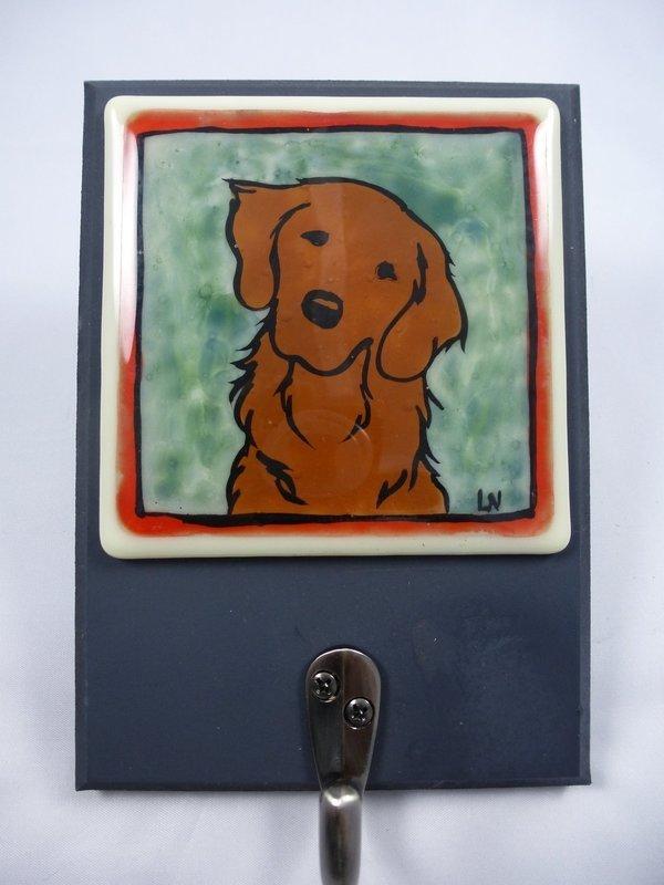 Leash Hanger, Dark Golden Dog