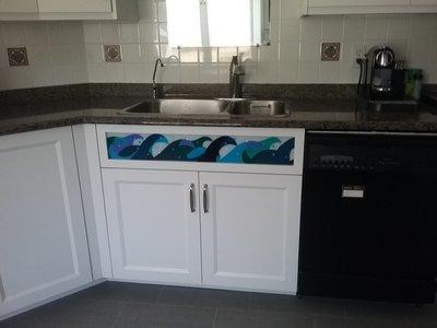 Custom Fused Glass Cabinet Facing