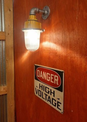 Vintage Industrial Sconce Light Fixture w/ Glass Globe Runway Airport Aviation