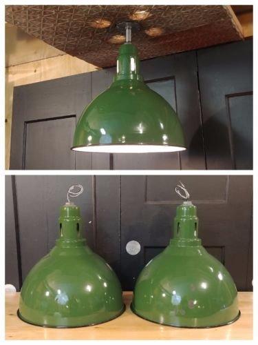 "VTG Green Deep Bowl Porcelain Enamel Light Fixture 17"""