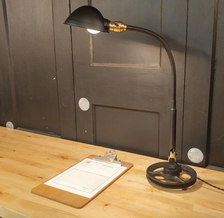 Flexible Gooseneck Arm Desk Lamp Steampunk Brass GE Table Light