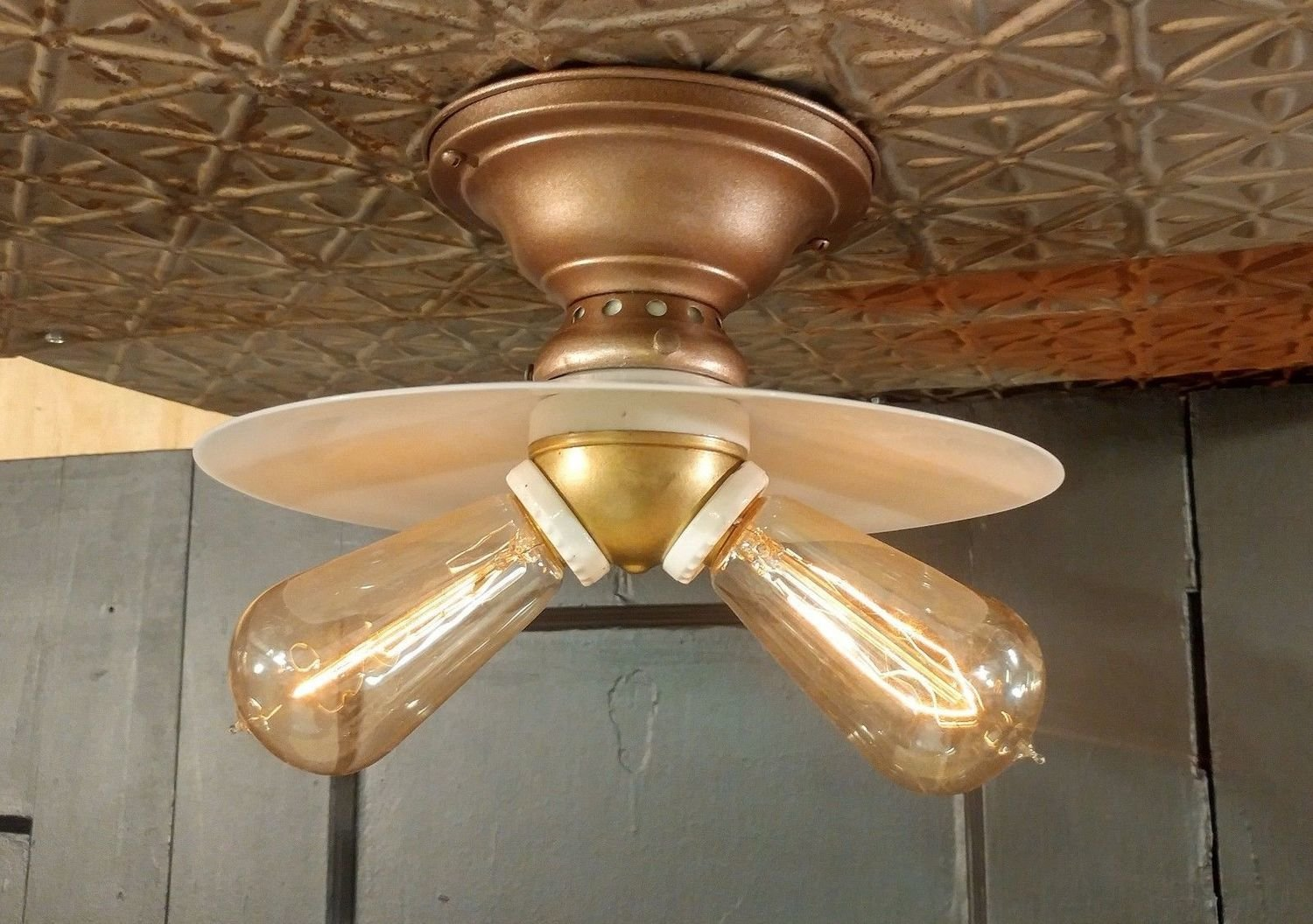 Copper Ceiling Fixture with Flat Milk Glass Shade and 2 Bulb Cluster