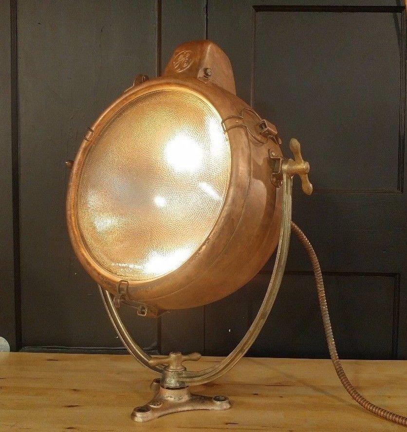 Vintage General Electric GE Novalux Projector Light - Nautical Copper Spotlight