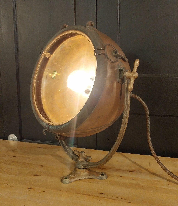Vintage Nautical Copper Spotlight by General Electric GE Novalux Projector Light