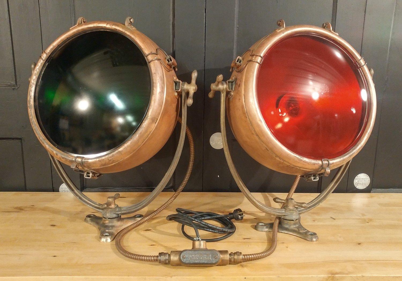 Large Vintage Copper 1930s Nautical Ship Navigation Lights GE Novalux