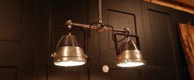 Vintage Hanging Double Pendant Light Fixture Industrial Steampunk Cast Aluminum