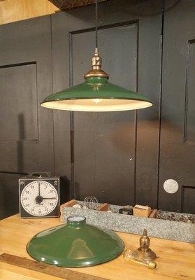 "Vintage Green Porcelain Enamel Pendant Light Fixture 16"" Brass Paddle Socket"