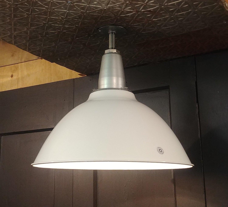 """VTG Benjamin White Porcelain Enamel Industrial Light Fixture 20"""" REWIRED Barn"""