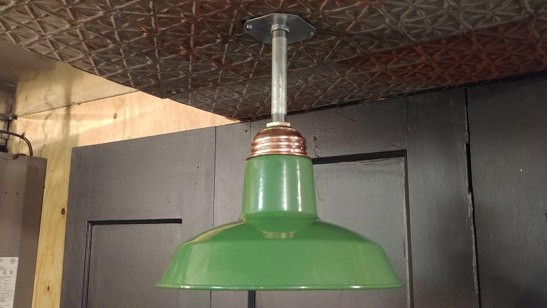 """VTG Green Porcelain Enamel Barn Light Fixture 12"""" Copper Brass Industrial"""