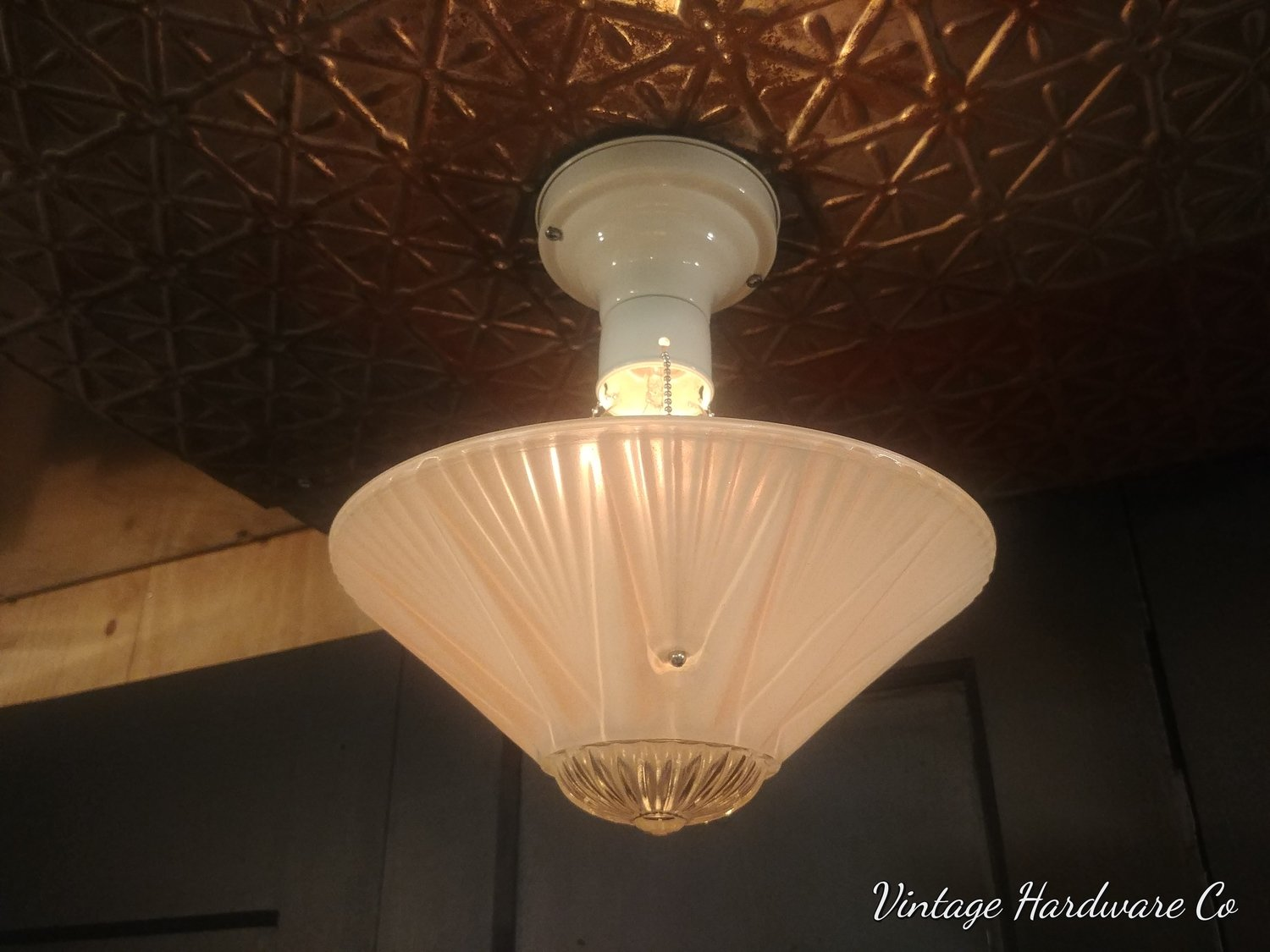 3 Chain Art Deco Hanging Light Fixture - Chandelier Pink Frosted Glass Shade