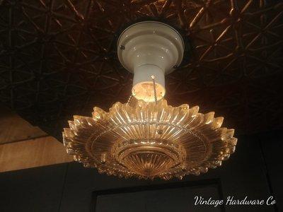3 Chain Art Deco Hanging Light Fixture - Chandelier Sunburst Glass Shade