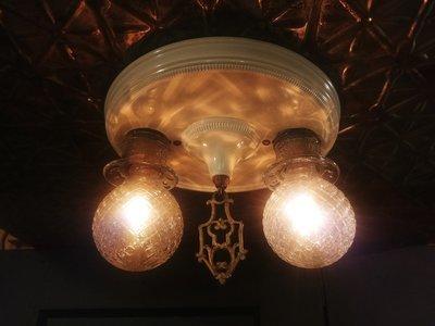 Art Deco Flush Ceiling Mount 2 Bulb Light Fixture Brass Finial
