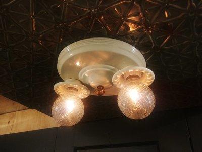 Art Deco Flush Ceiling Mount 2 Bulb Light Fixture Double
