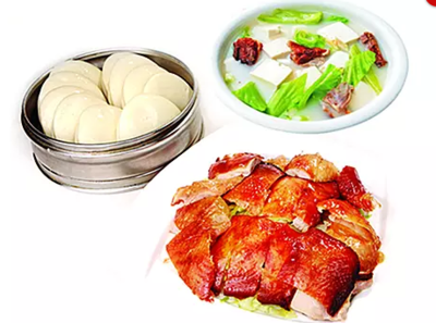 DHHX【东海海鲜】片皮鸡两吃(片皮鸡和时菜豆腐汤)Peking Chicken with Tofu and Vegetables Soup