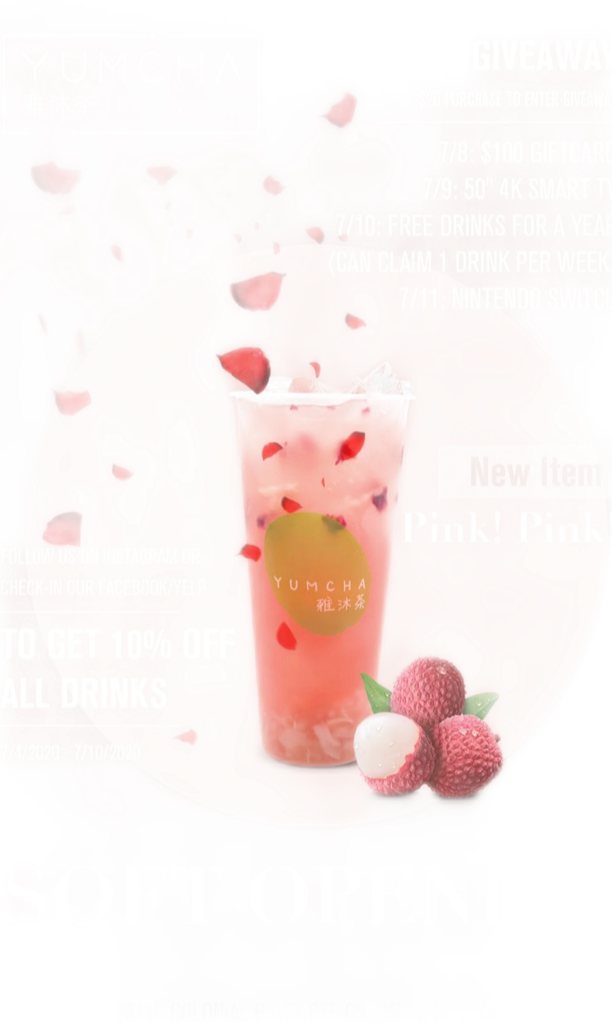 YUMCHA【雅沐茶】Pink! Pink! 霸气玫瑰荔枝茶