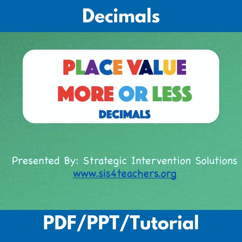Place Value More or Less: Decimals
