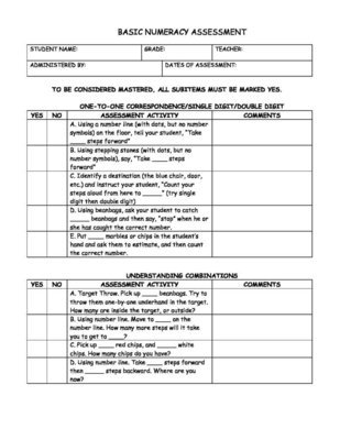 Basic Numeracy Assessment