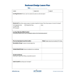 Backwards Design Template (Fillable PDF)