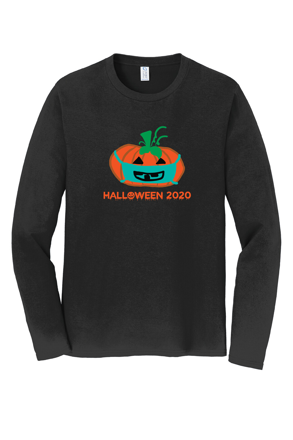 Port & Company® Long Sleeve Fan Favorite™ Tee w/ PUMPKIN DESIGN