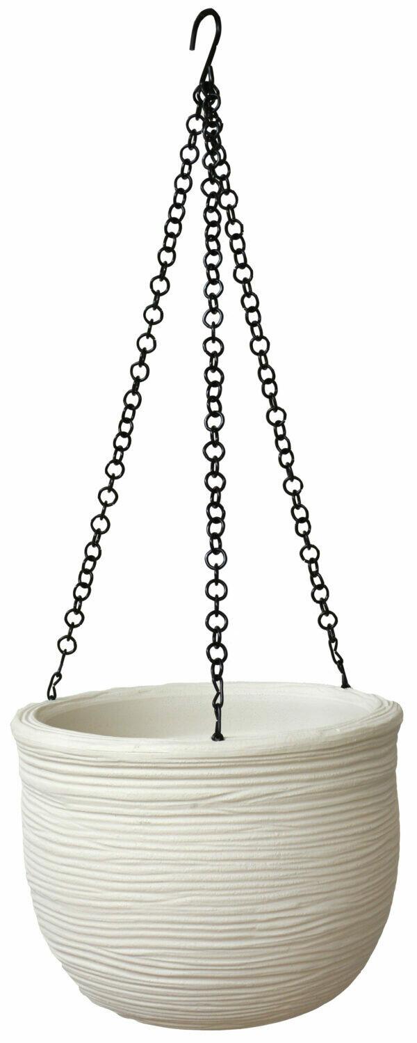 Vaso Tondo pensile Rigato moderno 25 x h 19 cm con ganci in ferro in resina