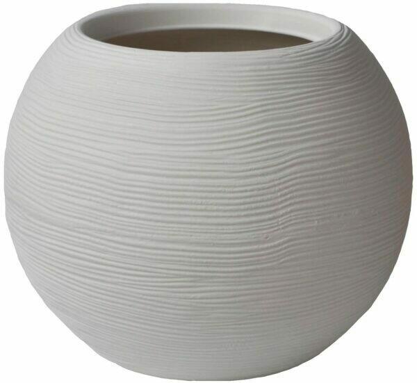 Vaso Tondo Sfera Caspo' Shabby Rigata Moderna 40 x h 33 cm in resina