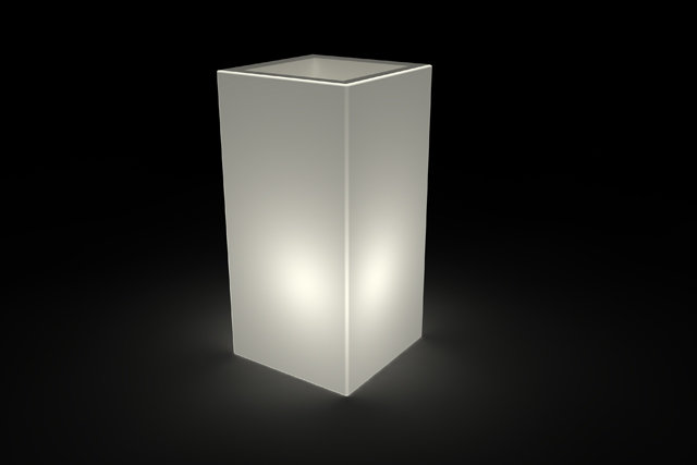 Vaso cubo Tevere luminoso BATTERIA LED RGB MULTICOLOR 45x45x h 90 cm in resina