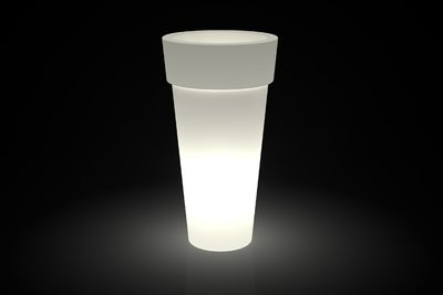 Vaso Tondo bordato Arno luminoso Batteria LED RGB Multicolor in resina h 43/70/92/105 cm