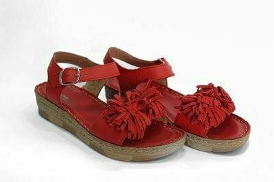 Crvene kožne ženske sandale model 861