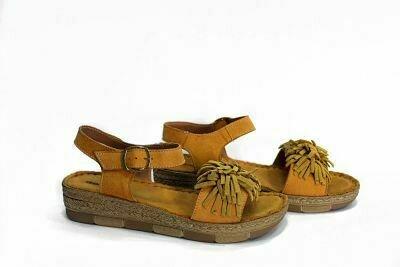 Oker kožne ženske sandale